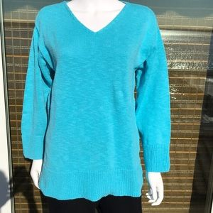Avalon, Cotten summer sweater. Aqua. OS. EUC